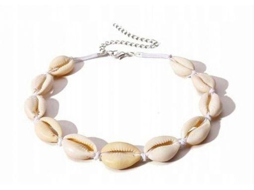 Lux art.choker muszelki rzemyk muszle seashell