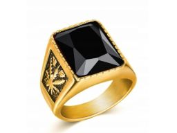 Złoty sygnet pierścień marihuana konopia indyjska