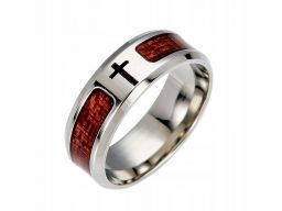 Obrączka sygnet pierścień krzyż drewno stal 316l