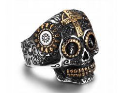 Srebrny sygnet pierścień gotycka czaszka krzyż