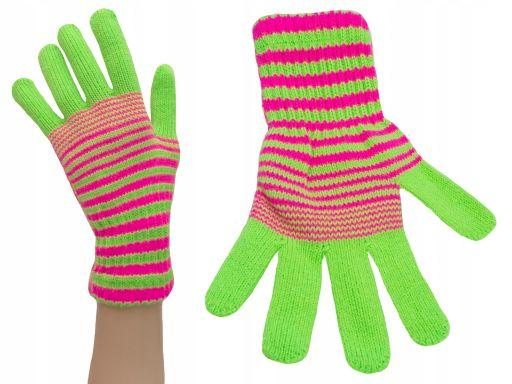 Rękawiczki młodzież damskie zielony kolory paski