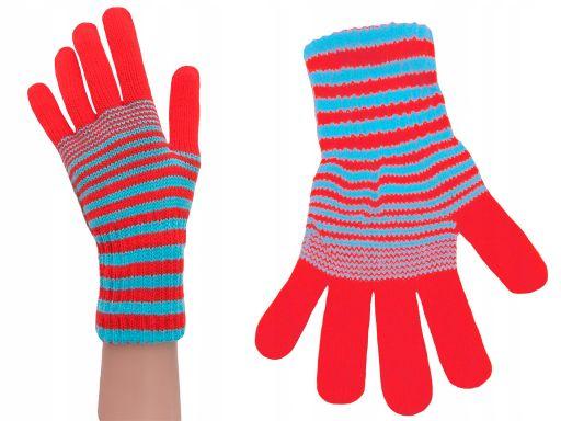 Rękawiczki młodzież damskie czerwony pomarańczowy