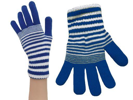 Rękawiczki młodzież damskie błękit niebieski paski