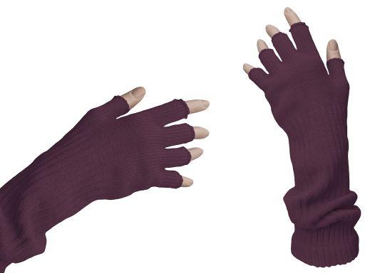 Rękawiczki bez palców mitenki długie fiolet śliwka