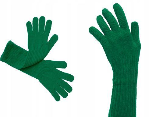Długie rękawiczki gładkie polskie zielone khaki