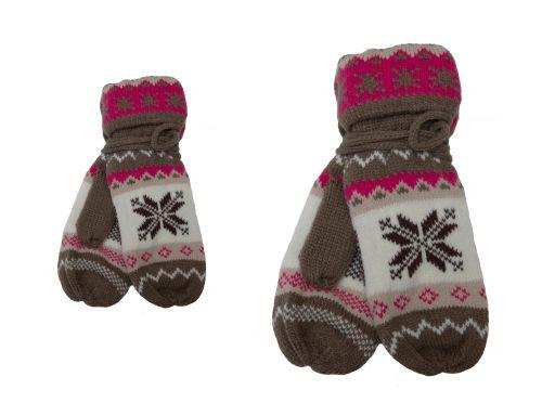 Ciepłe rękawiczki norweskie na sznurku gwiazda