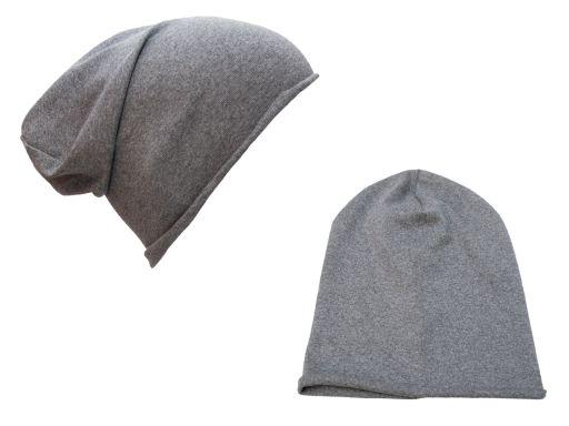 Szara czapka bawełniana dresowa smerfetka beanie