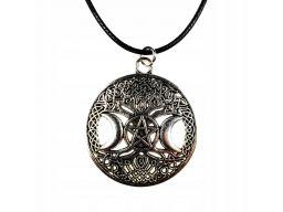 Naszyjnik potrójny księżyc pentagram drzewo życia