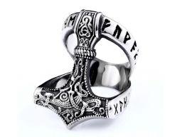Sygnet nordycki pierścień mjolnir młot thora runy