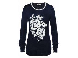 B.p.c granatowy sweter z różą 56/58.