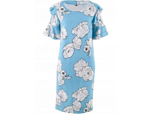 B.p.c. sukienka w kwiaty falbanki na rękawie 40/42