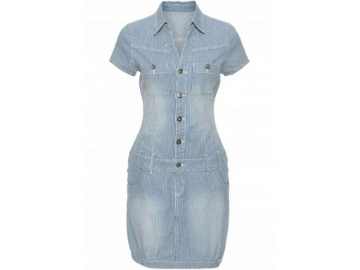 B.p.c sukienka dżinsowa w paski szmizjerka 38