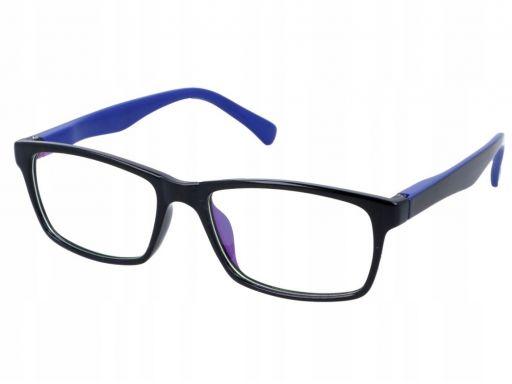 Okulary antyrefleks zerówki nerdy prostokątne flex