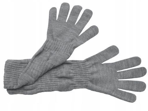 Długie rękawiczki gładkie polskie szary melanż