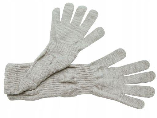Długie rękawiczki gładkie polskie jasny beż melanż