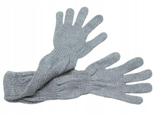 Długie rękawiczki gładkie polskie szary z białym