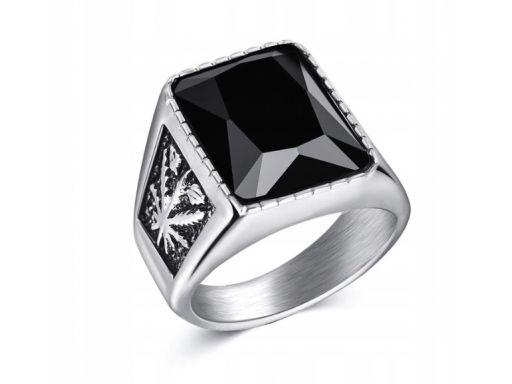Silver sygnet pierścień marihuana konopia indyjska