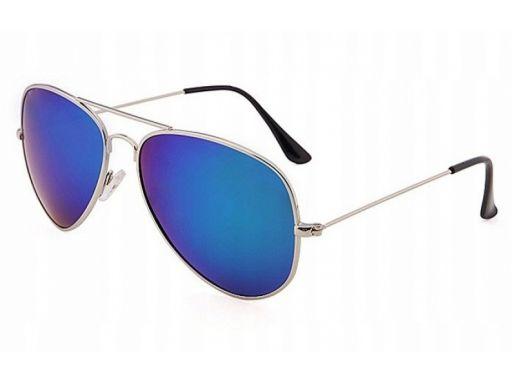 Okulary aviator przeciwsłoneczne pilotki lustrzane