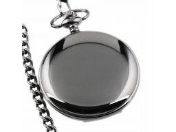 Piękny zegarek kieszonkowy czarny gładki
