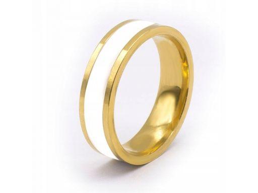 Biała złota obrączka sygnet pierścień 316l 6mm