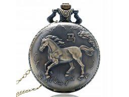 Piękny zegarek kieszonkowy koń zodiak chiński
