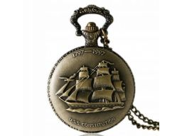 Piękny zegarek kieszonkowy żaglowiec statek