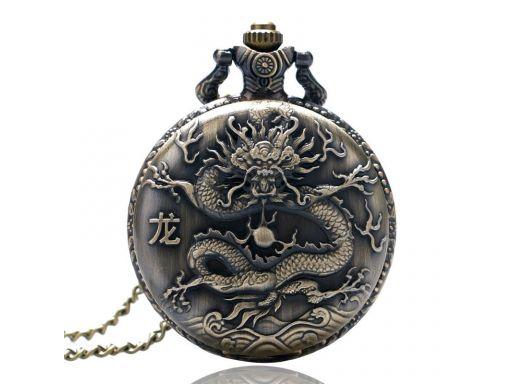 Piękny zegarek kieszonkowy zodiak chiński smok