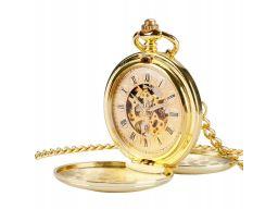 Mechaniczny zegarek kieszonkowy złoty gładki