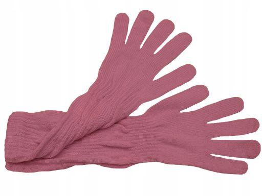 Długie rękawiczki gładkie polskie brudny róż