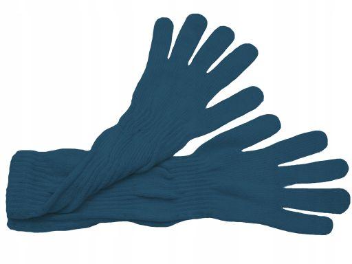 Długie rękawiczki gładkie polskie niebieski jeans