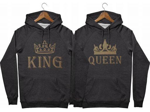 Bluzy dla par z kapturem walentynki king queen s