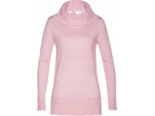 B.p.c sweter z szerokim golfem różowy: r. 36/38