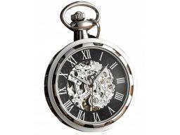 Mechaniczny zegarek kieszonkowy szkielet srebrny