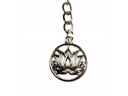 Piękny brelok ażurowy kwiat lotosu posrebrzany