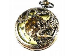 Piękny mechaniczny zegarek kieszonkowy smok
