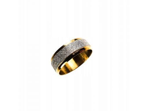Złota obrączka sygnet pierścień srebrny brokat