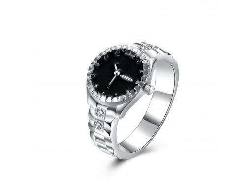 Obrączka zegar srebrny pierścionek zegarek