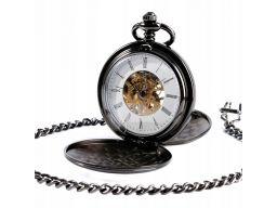 Mechaniczny zegarek kieszonkowy grafitowy gładki