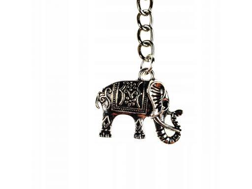 Piękny brelok metalowy słoń posrebrzany