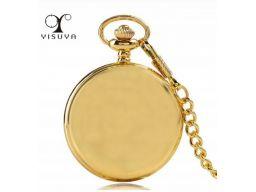 Piękny zegarek kieszonkowy złoty gładki kwarcowy
