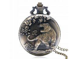 Piękny zegarek kieszonkowy tygrys zodiak 24h pl