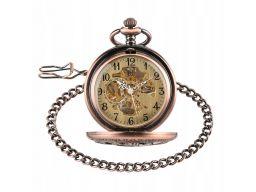 Mechaniczny zegarek kieszonkowy miedziany szkielet