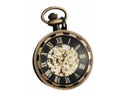 Mechaniczny zegarek kieszonkowy szkielet brąz