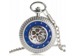 Mechaniczny zegarek kieszonkowy srebrny gwiazdy