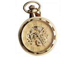 Mechaniczny zegarek kieszonkowy szkielet złoty