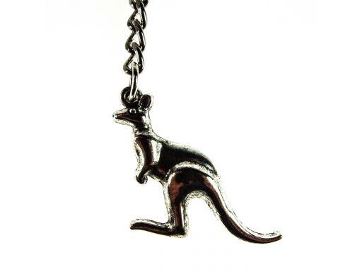Piękny brelok metalowy kangur posrebrzany 24h pl