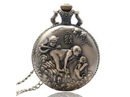 Piękny zegarek kieszonkowy małpa zodiak