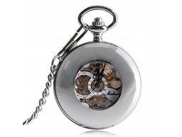 Mechaniczny zegarek kieszonkowy srebrny szkielet