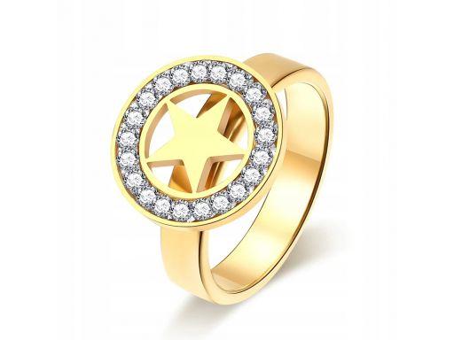 Złoty sygnet pierścionek obrączka gwiazda