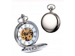 Mechaniczny zegarek kieszonkowy srebrny gładki #2
